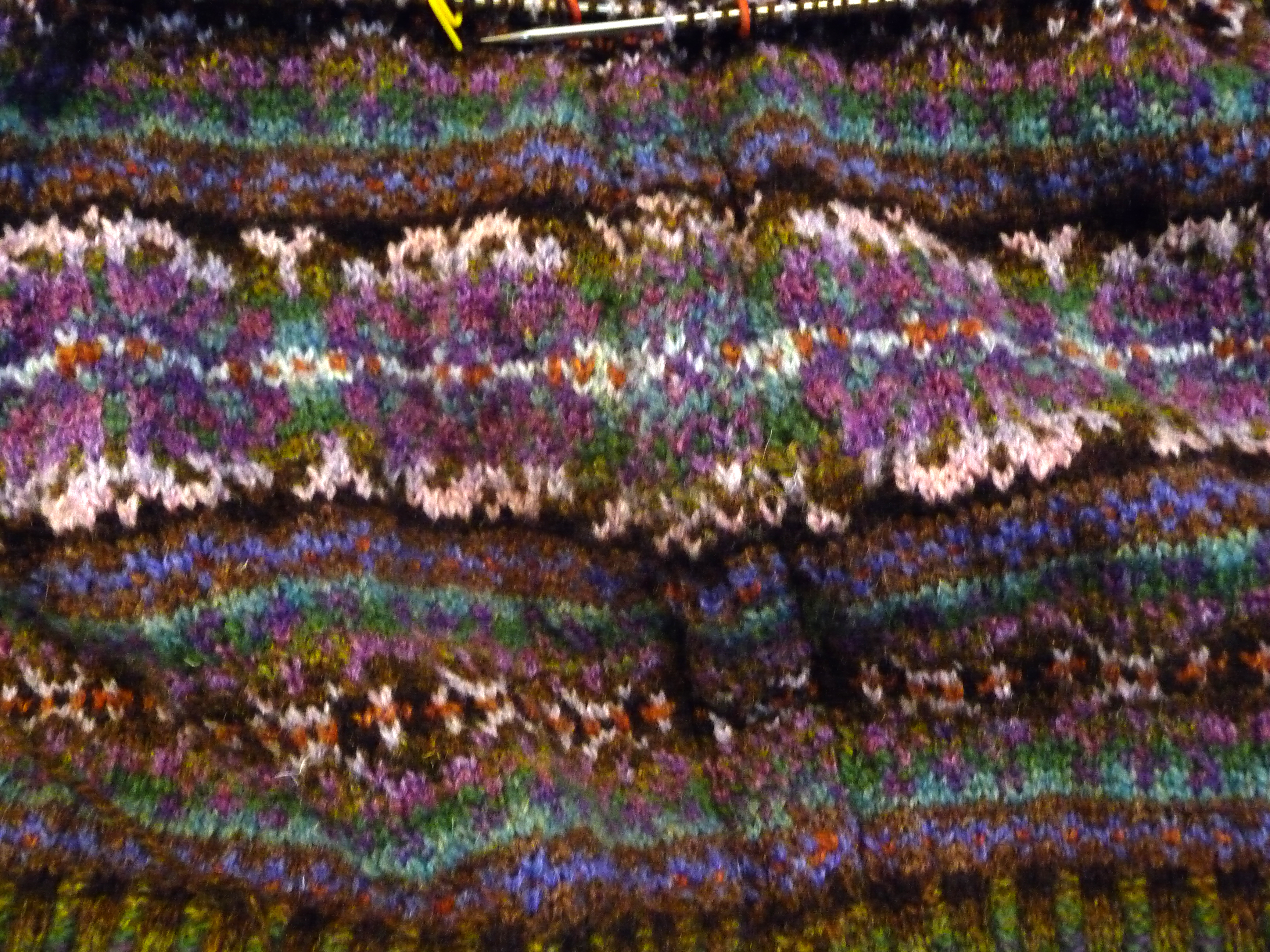 Fair Isle vest – part 4…armhole steeks started | Color \'n Cables